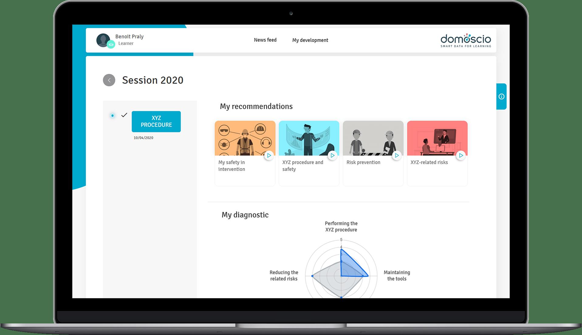 A screenshot of the learner's dashboard